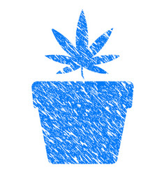 cannabis pot grunge icon vector image vector image