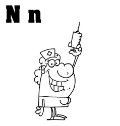 Cartoon nurse with letter vector image