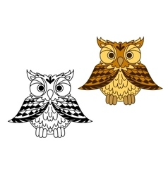 Cute little cartoon owl with outspread wings vector image
