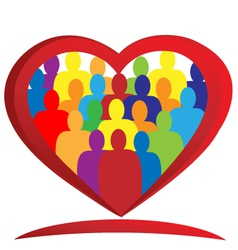 Diversity people heart vector
