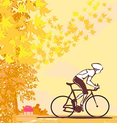 outdoor autumn bike riding vector image vector image