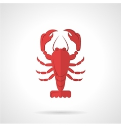 Red crawfish flat color icon vector image vector image