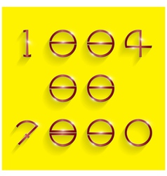 Shinning circle digit style on yellow background vector