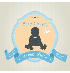 Baby shower invitation with baby boy vector image vector image
