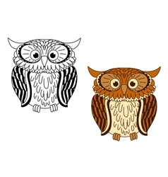 Brown and colorless cartoon owl birds vector image