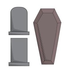 graveyard icons set vector image vector image