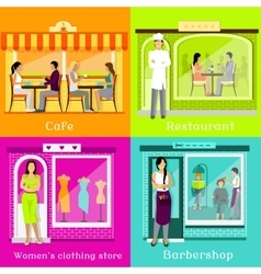 Set Cafe Restaurant Shop Hairdresser vector image