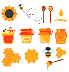 Set of honey flat design elements isolated vector
