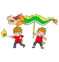Chinese new year festival dragon dance vector