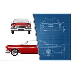 engineering blueprint of car vintage cabriolet vector image
