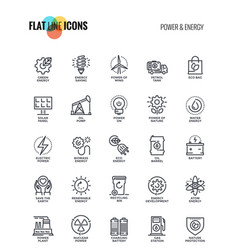 flat line icons design-power and energy vector image