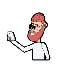 Nice man with hairstyle and smartphone in the hand vector