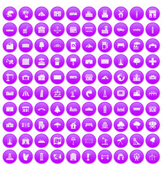 100 landscape element icons set purple vector