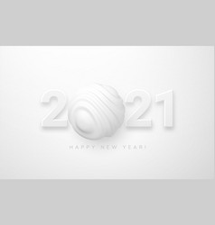 2021 happy new year number 2021 3d realistic vector image