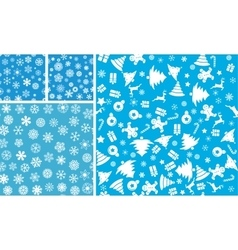 4 Christmas Seamless Background set vector image