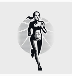 A young woman is running vector