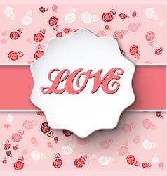 Art pink rose flower background card vector