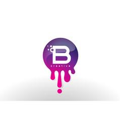b letter splash logo purple dots and bubbles vector image