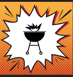 Barbecue with fire sign comics style icon vector