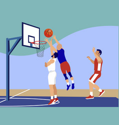 basketball sports game in minimalist style vector image