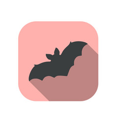 bat flat icon with shadow halloween october 31st vector image