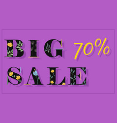 Big sale seventy percents artistic font vector