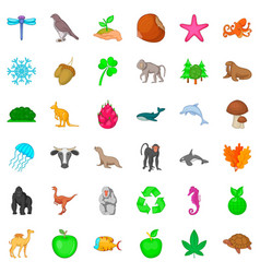 biosphere icons set cartoon style vector image