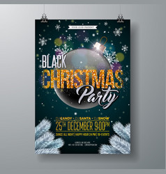 Black christmas party flyer with vector