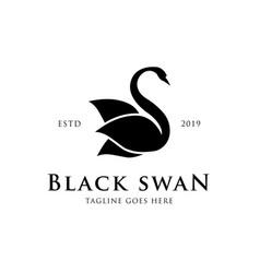 black swan logo concept creative minimal design vector image