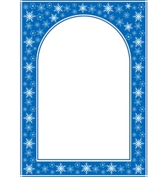 blue christmas arcuate frame with white center vector image