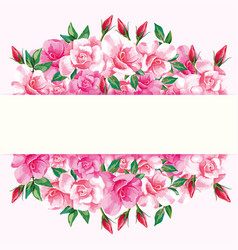 Border roses design frame vector