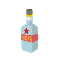 Bottle of vodka icon cartoon style vector image