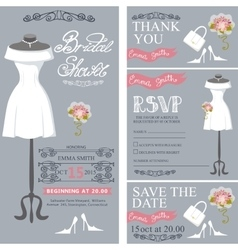 Bridal shower invitation cardsWedding Dress vector