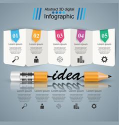 Business infographics pencil idea icon vector