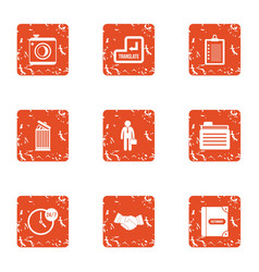 Business translation icons set grunge style vector