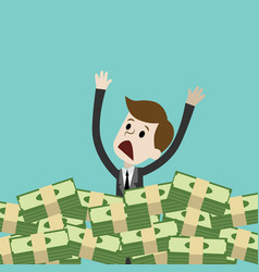 businessman or manager drown in his money money vector image