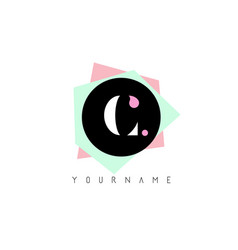 c geometric shapes logo design with pastel colors vector image