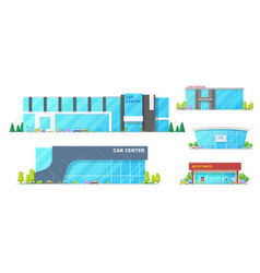 car dealers centers and showroom buildings vector image