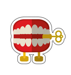 Cartoon april fools day chattering teeth vector