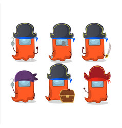Cartoon character ghost among us orange with vector