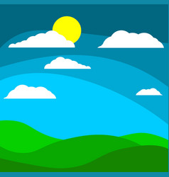 cartoon children s background field with the sun vector image