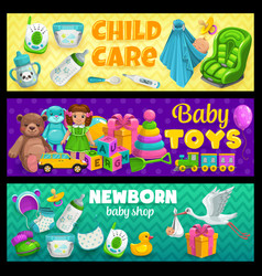 Child care and newborn kid toys shop banners vector
