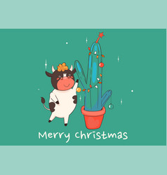 christmas card with a cow decorating a cactus vector image