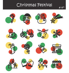 Christmas festival icon set 4 vector