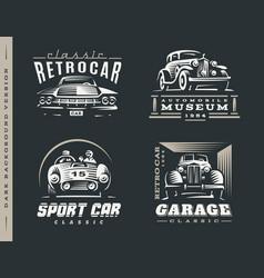 Classic car set on dark background vector