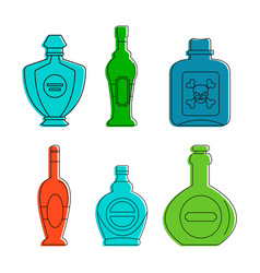 cognac bottle icon set color outline style vector image