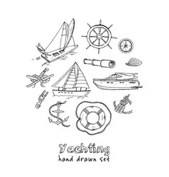 collection yachting doodle icons vector image
