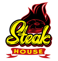 color template for steak house with calligraphic vector image
