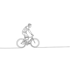 continuous one line drawing man riding a bicycle vector image