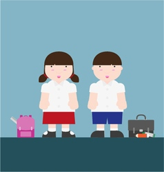 Cute big fat boy and girl back to school vector